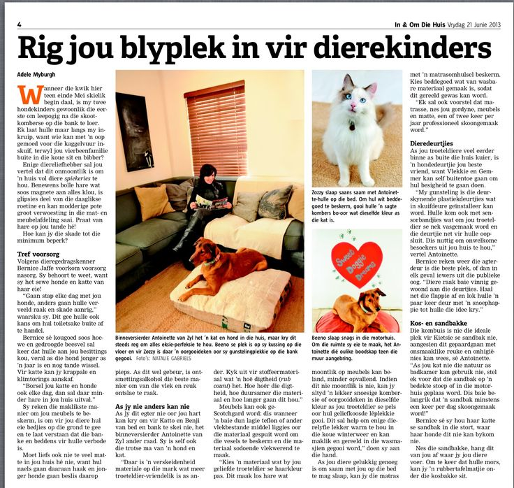 My furry babies and I in 'Die Burger, In en om die huis'.