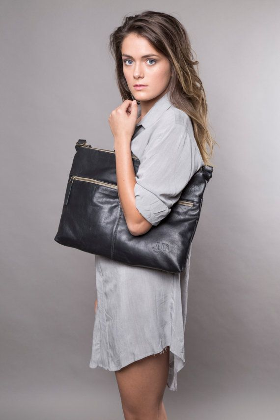 FREE SHIPPING black leather bag  soft leather purse  by JUDtlv