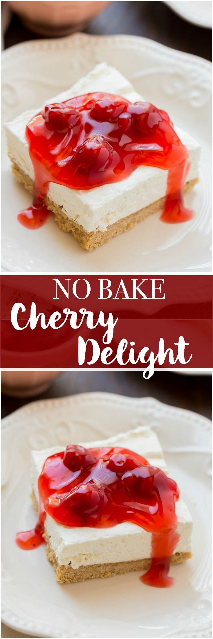 No Bake Cherry Delight is a family favorite. This dessert is a scrumptious no bake dessert and perfect for those hot summer days! #recipes #nobake #cherries #cheesecake #creamcheese