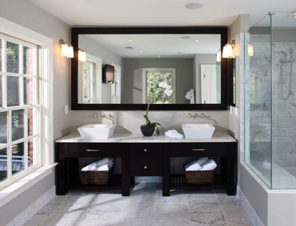 his n her sink - bathroom. love the large mirror: Bathroom Design, Big Mirror, Masterbath, Bathroom Mirror, Bathroomdesign, Bathroom Ideas, Frames Mirror, Contemporary Bathroom, Master Bathroom