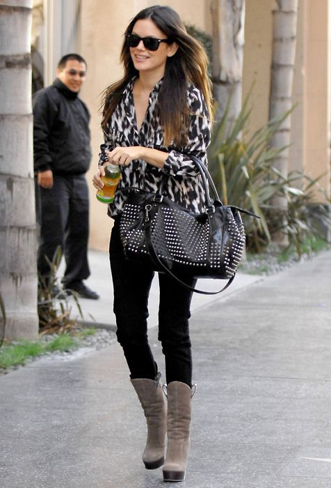 rachel bilson in leopard. love those boots.