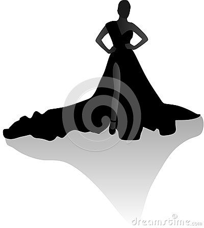 Vector illustration of female silhouette gown shadow.