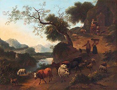 Jan Vermeer van Haarlem III - Berglandschaft mit Vieh und Landleuten