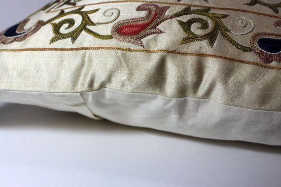 Silk Suzani Pillow cover Suzani Pillow Bohemian Pillow Boho