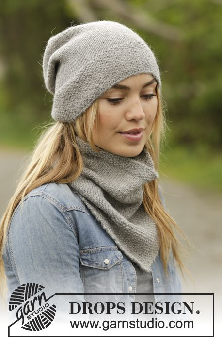 Set consists of: Knitted DROPS neck warmer and hat with edge in seed st in Karisma. Free pattern by DROPS Design.