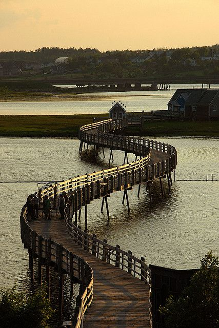Boardwalk in the small town of Bouctouche, New Brunswick, Canada. Bet there is a stunning view from that bridge.