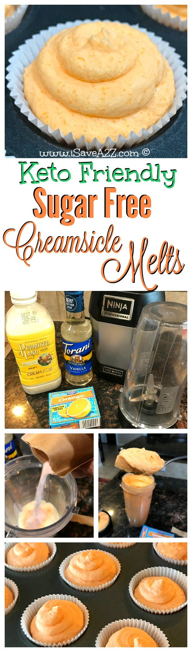 These keto friendly fat bombs taste just like a Creamsicle Popsicle!!!!  OMG!!!!  SO GOOD!