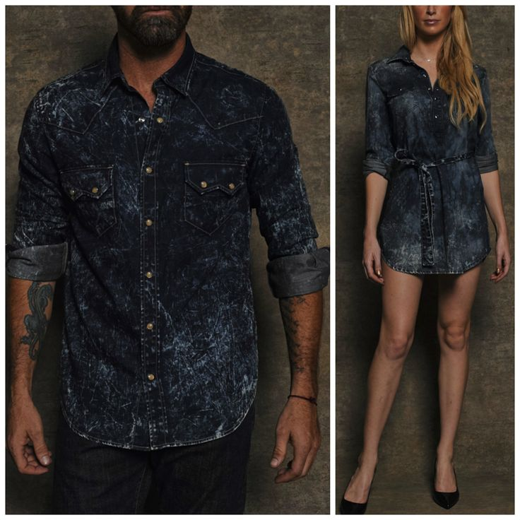 #PickOfTheDay Shutter Western Shirt and Trudy Western Tunic - this washed denim combo is perfect for a couple that isn't afraid to make a statement. Wear it with basic neutrals and nudes pieces that contrast and offset it.  Shop here: http://bit.ly/1KqeNv9