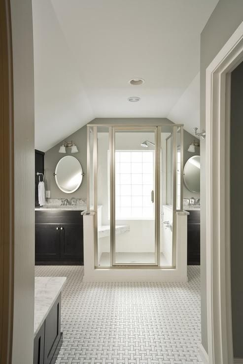 Suzie Renewal Design Build  Master bathroom with vaulted ceiling and warm gray walls paint