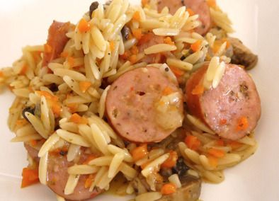 Johnsonville Three+Cheese+Italian+Sausage+and+Vegetable+Orzo This was so easy and yummy. Double next time and serve with garlic bread and a salad
