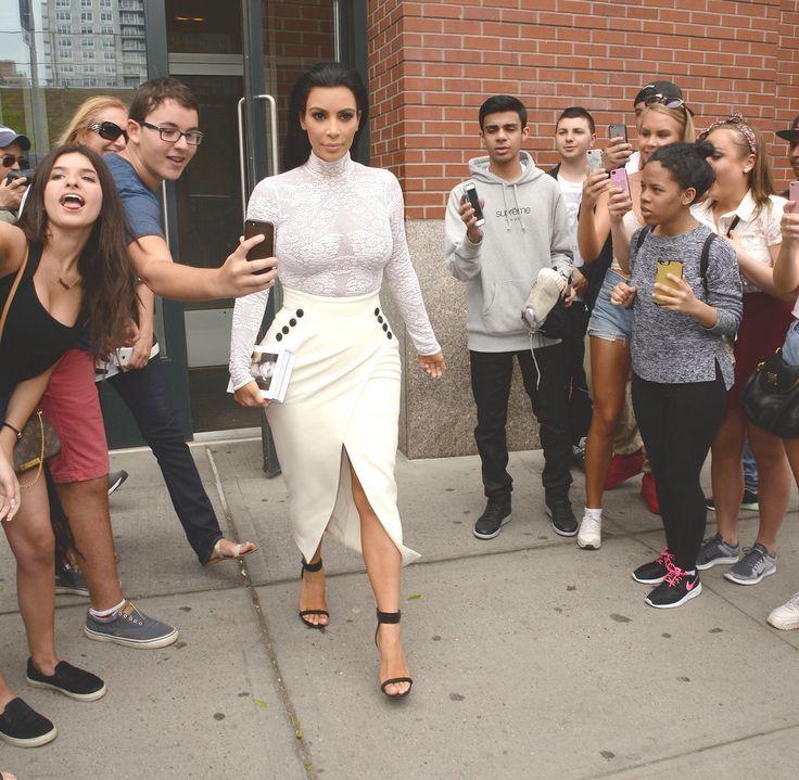 Kim Kardashian Wearing White Outfit For Book Signing 2015 | POPSUGAR Fashion