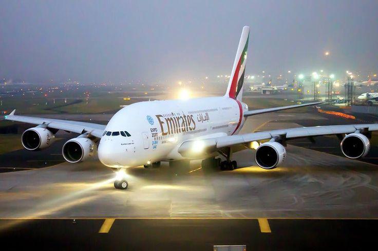 Beautiful view of Emirates A380 taxing to Runway at Mumbai CSI airport