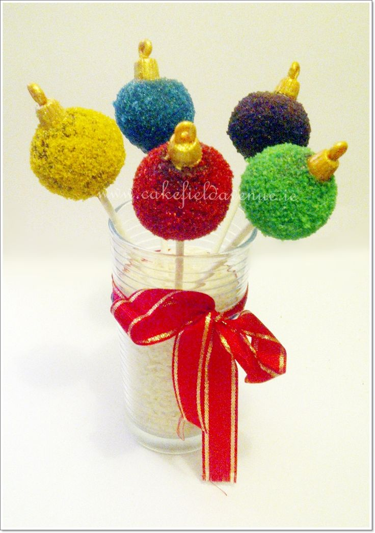 Cake Pops / Cake Balls - Some simple colourful Xmas Baubles. Now we need edible Christmas Tree ;)