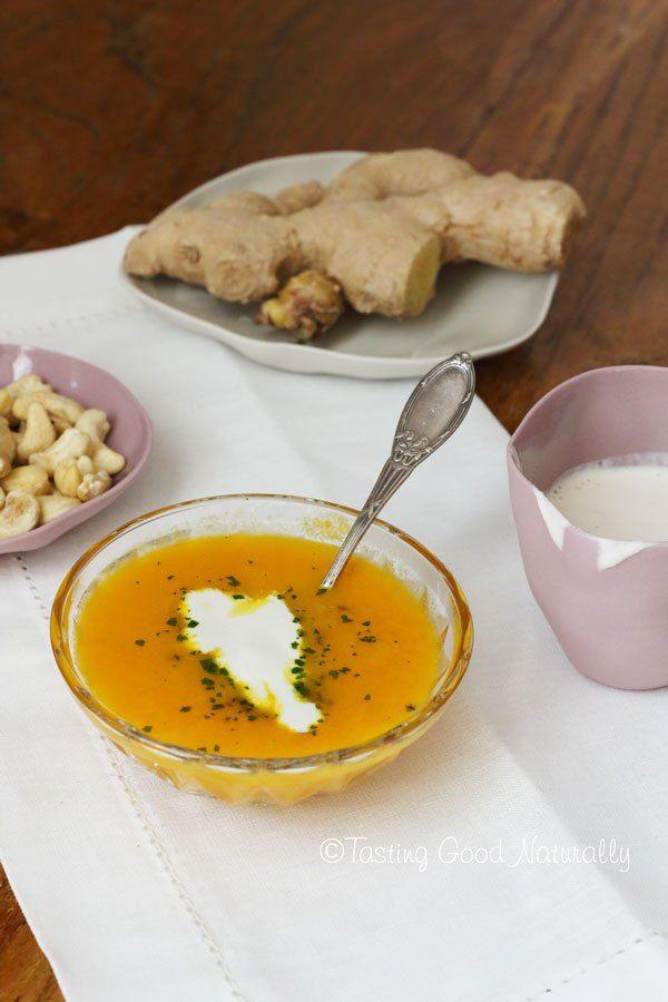 Tasting Good Naturally : Soupe aux carottes, gingembre et citron et crème aux noix de cajou #vegan