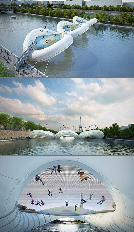 "Not just any bridge, ""A Bridge in Paris"" is exactly as it sounds, a trampoline-based structure that lets you hop over the water. AHH"