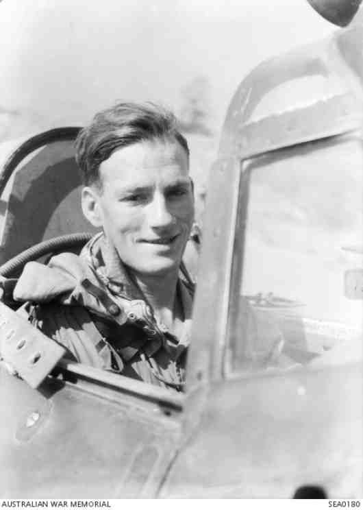 Pilot Officer John Jenkins, 20 Squadron RAF, in the cockput of his Hurricane aircraft, Monywa, Central Burma, March 1945