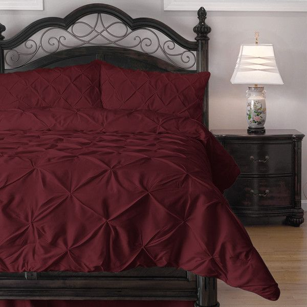 ExceptionalSheets 4 Piece Pinch Pleat Comforter Set - Ideal for Summer... (89 CAD) ❤ liked on Polyvore featuring home, bed & bath, bedding, comforters, red, red queen comforter, king comforter, california king comforter, cal king comforter set and king size comforter