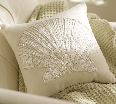 Jewel Clamshell Pillow. Easy solution, take an already sewn plain Jane pillow cover and hand stitch some beading. Love it