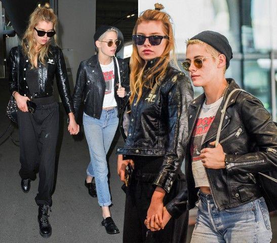 Kristen Stewart e Stella Maxwell  DOVE: Parigi  LOOK: Punk rock. L'attrice e la sua fidanzata, atterrano all'aeroporto Charles de Gaulle e sembrano essersi messe d'accordo sul look. Entrambe chiodo in pelle e occhiali da sole si tengono per mano assediate dai fotografi.