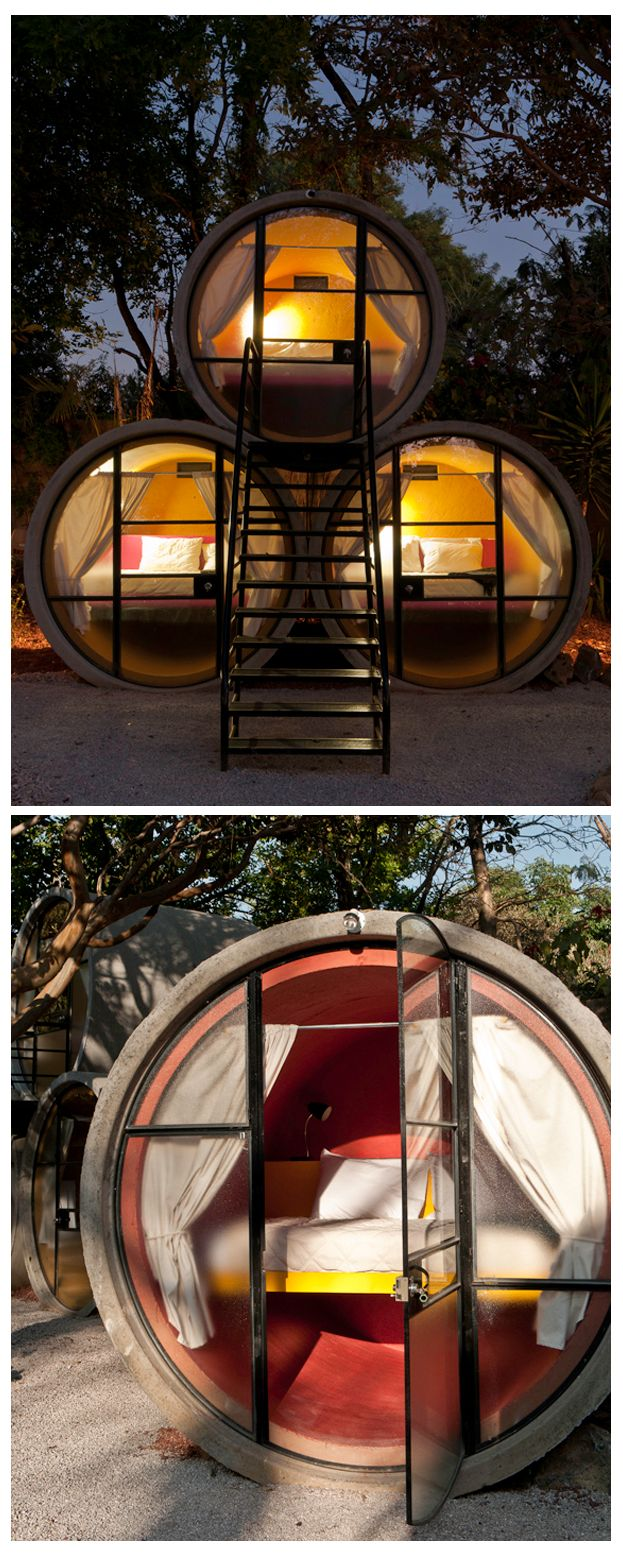 The TuboHotel in Tepoztlan, Mexico is built from reclaimed concrete pipes!...awesome!
