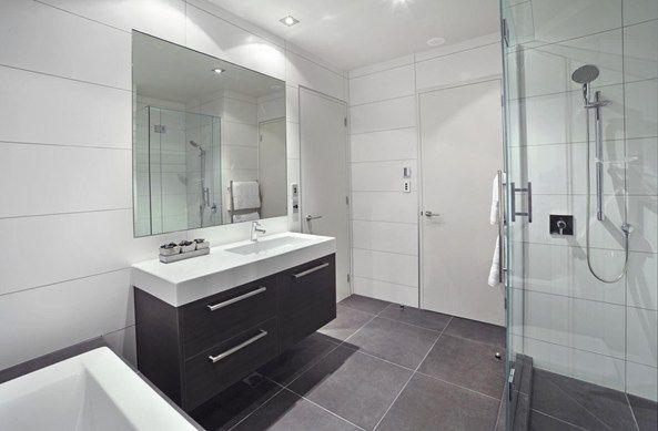 Vanity Laminex Licorice Linea, looks nice with gray tiles