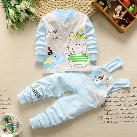 eb8d5e83143 Baby girl Boy newborn Clothes 2018 Autumn Print Long T-shirt Tops + Overalls  Pants 2PCS Outfits Kids Bebes Jogging Suit romper