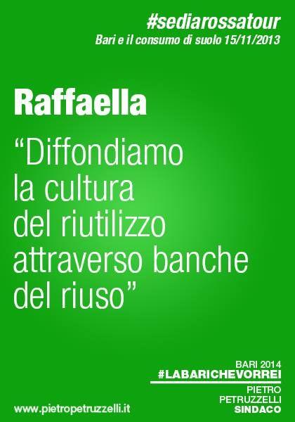 """Raffaella """"Diffondiamo la cultura del riutilizzo attraverso banche del riuso"""" #labarichevorrei http://ht.ly/rYBmb"""