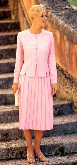 Church Skirt Suits With Pleated Skirts For Women Pink Knife
