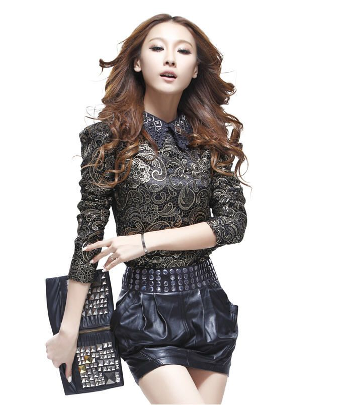 New Arrival 2014 Long-Sleeved Lace Bottoming Shirt Spring New Peter Pan Collar Hollow Floral Print Slim Shirt H1967