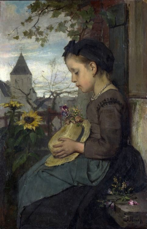 Jacob Maris : A Girl Seated Outside a House 1867)