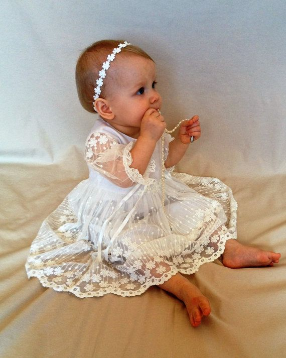Baby girl christening dress, christening gown, baptism dress, flower girl dress, first communion dress, lace baby dress