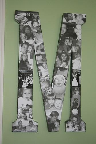 I love this. A large Letter with black and white photos mod podged on. good idea for a nursery