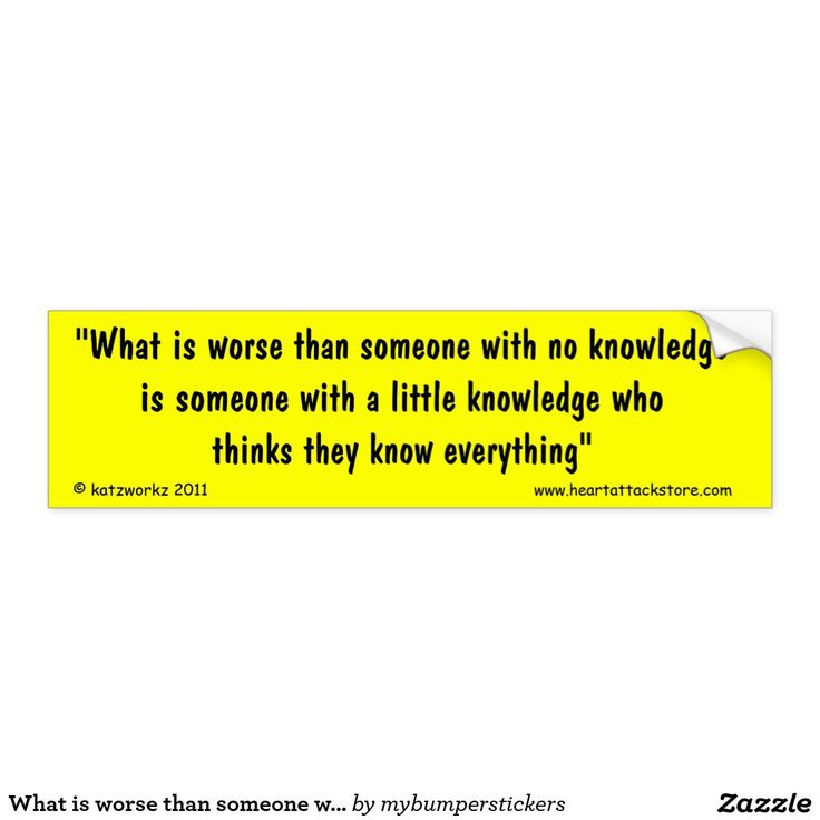 What is worse than someone with no knowledge car bumper sticker - Click on photo to view item then click on item to see how to purchase that item. #sticker #saying #quote #scar #tattoo #heartattack #diabetes #cvd #motivation #zazzle