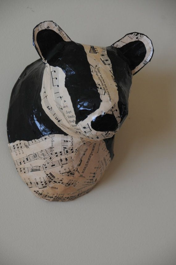 Faux Taxidermy Badger Paper Mache Animal By
