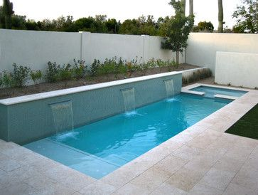 Lap pool or water feature, glass mosaics and modern lines make a big impact  -