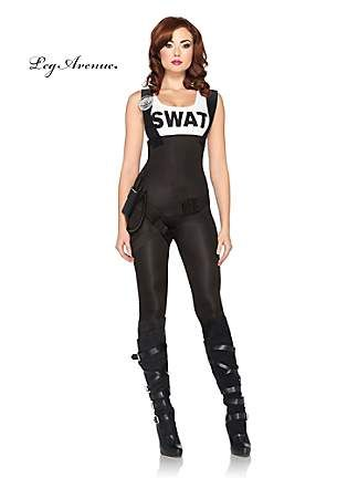 You'll need to call the special forces just to keep them off you when you come to the party in this Women's Sexy SWAT Bombshell Police Costume. This package comes with a black bodysuit, belt, and walkie talkie. http://www.wholesalehalloweencostumes.com/adult-costumes/sexy-costumes/new-halloween-costumes/LA85168-womens-sexy-swat-bombshell-police-costume.html?mboxSession=1382130974469-47741