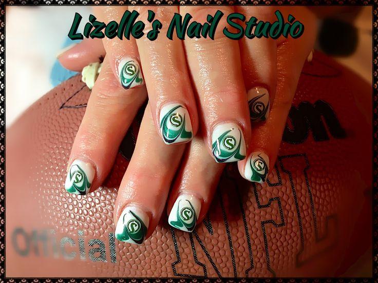 Saskatchewan Roughriders nails!! Go Riders!! Hand-painted nail art. Sculpted gel nails. www.facebook.com/LizellesGelNails