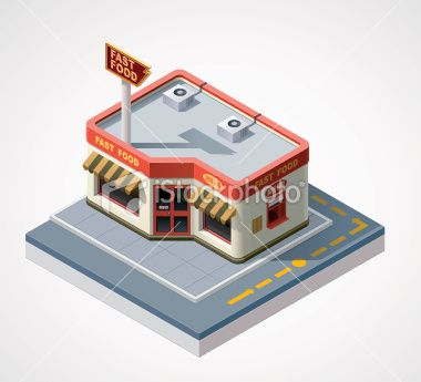 Isometric fast food cafe Royalty Free Stock Vector Art Illustration
