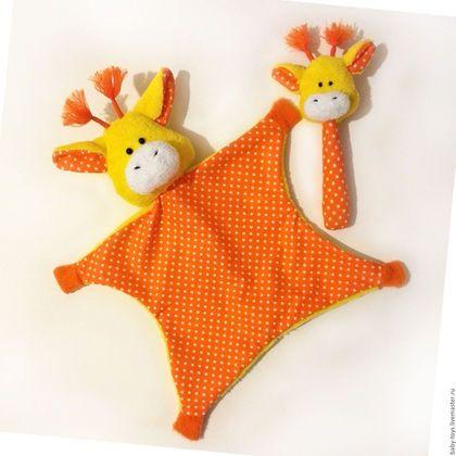 Игрушки животные, ручной работы. Ярмарка Мастеров - ручная работа. Купить Жираф комфортер. Первая игрушка малыша, игрушка-сплюшка (0+). Handmade.