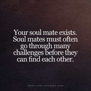 Live Life Happy: Your soul mate exists. Soul mates must often go through many challenges before they can find each other.