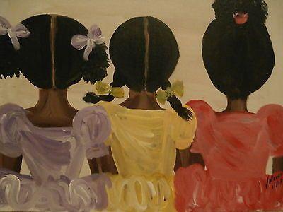 "Original African American black art painting signed 14"" x 18"""