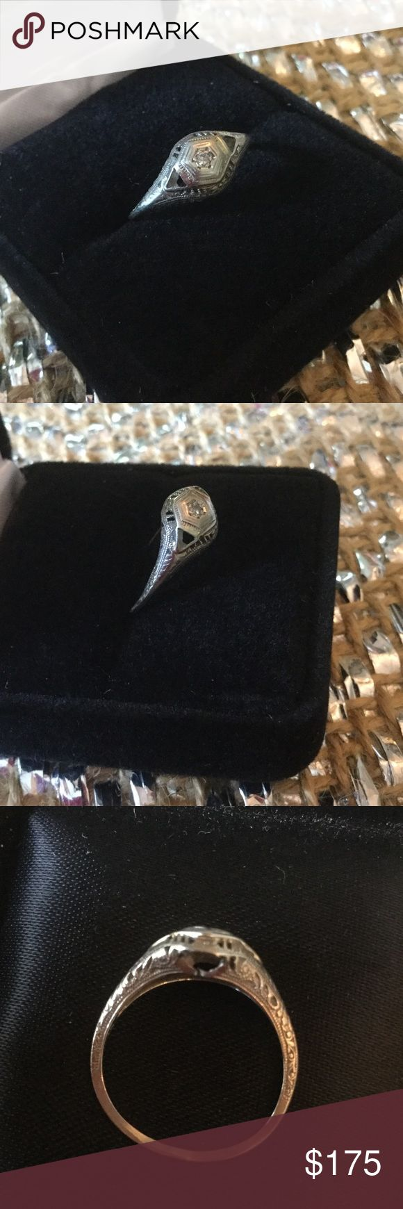 Genuine 18K Gold Antique Diamond Ring💎 Wow !  Genuine 18K GOLD !  Rare find at this same awesome estate sale.  This ring is over 100 years old,  dainty workmanship, genuine tiny diamond.  This is priced real low and is worth more for just the gold !  Condition shows wear,  priced low for that. Antique Estate Sale Jewelry Rings