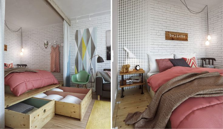 45 sqm apartment, decorated in a practical and beautiful way. http://www.iboligen.dk/artikler/100048/kreativ-indretning-paa-45-kvadratmeter
