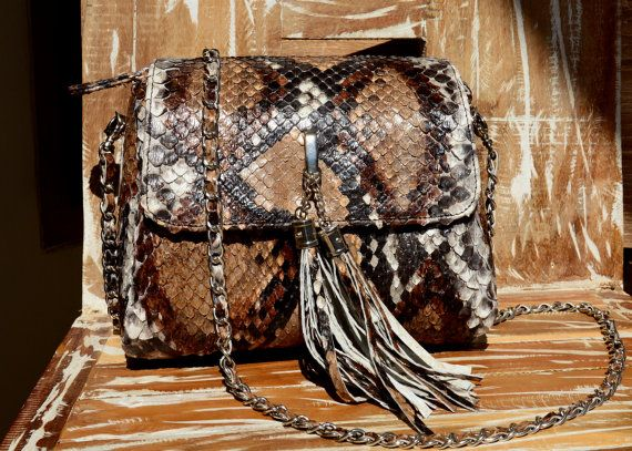 natural python leather bag brown multicolour by OkeanaAccessories