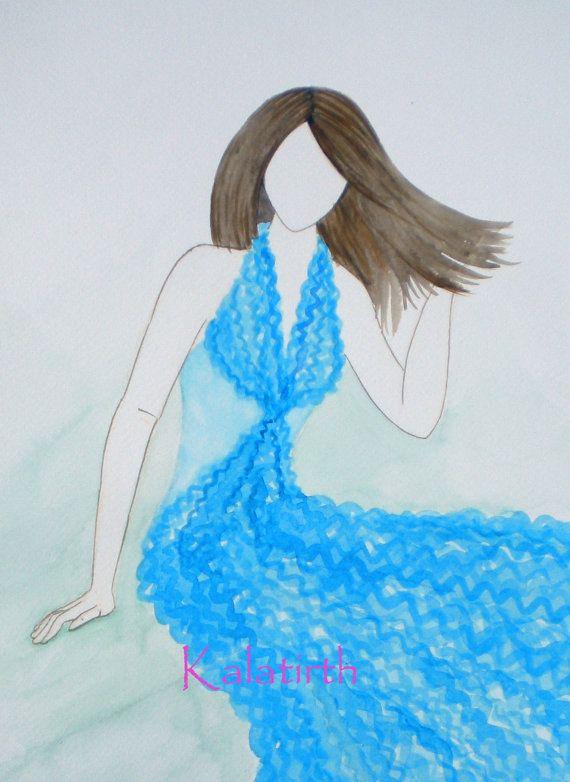 Fashion illustration in Watercolor  Chiffon in Sky by Kalatirth, $50.00