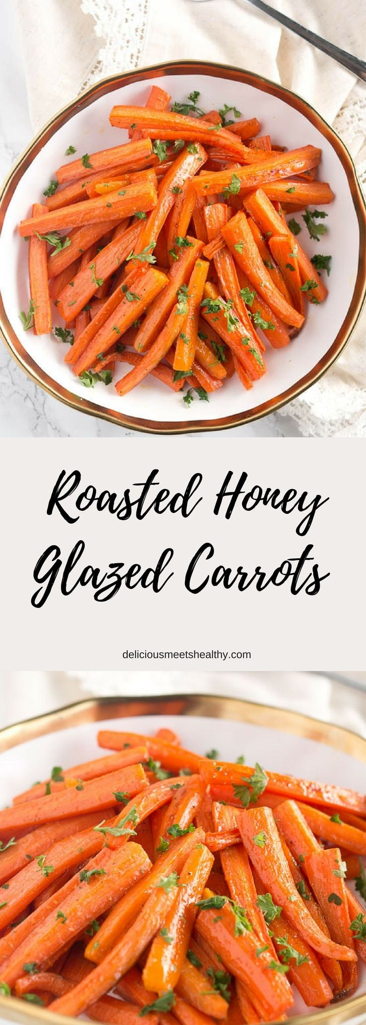 These roasted honey glazed carrots are Thanksgiving's easiest and tastiest side dish! Perfect for holidays or everyday side dish. via @NeliHoward