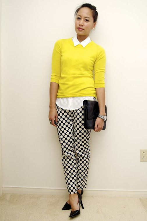 One Yellow Sweater, Three Ways - great styling tips! This girl has a great sense of style, and makes it so easy to throw together work-appropriate outfits! afashiondeliberation.blogspot.ca                                                                                                                                                     More
