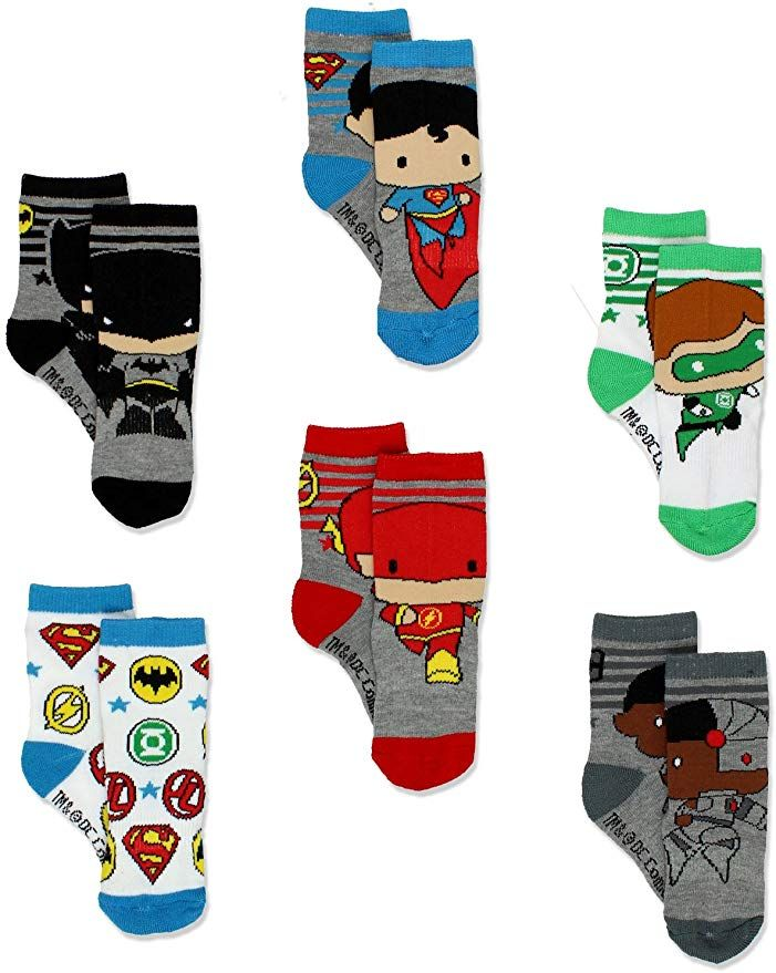 Justice League Baby Boys/' 6-Pack Crew Socks