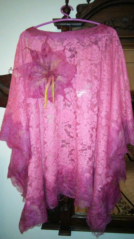Wearable art!!! A ponco with wet felting on lace!