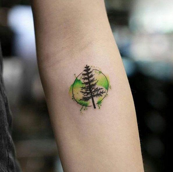 Watercolor Tree Tattoo by Georgia Grey